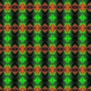 Woven Diamonds Green Orange