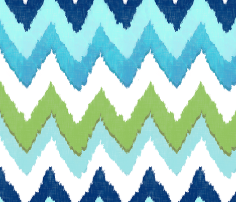 Watercolor Ikat Chevron in Green and Blue Fusion fabric by willowlanetextiles on Spoonflower - custom fabric