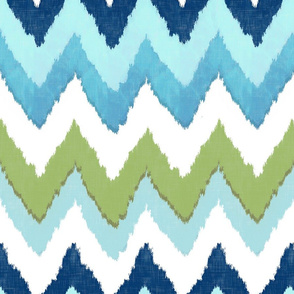 Watercolor Ikat Chevron in Green and Blue Fusion