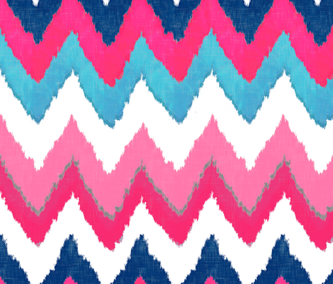 Watercolor Ikat Chevron in Navy, Fuchsia and Aqua fabric by willowlanetextiles on Spoonflower - custom fabric