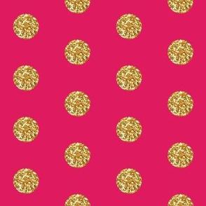 Gold Glitter Dots on Fuschia