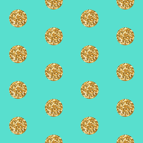 Gold Glitter on Teal fabric by willowlanetextiles on Spoonflower - custom fabric