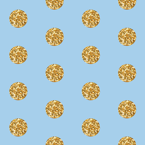 Gold Glitter on Blue fabric by willowlanetextiles on Spoonflower - custom fabric