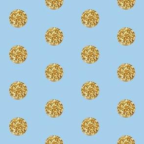 Gold Glitter on Blue