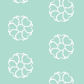 Hearts Pattern Mint Green