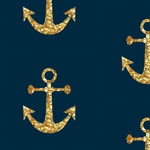 Anchors Aweigh In Gold Glitter On Navy Wallpaper