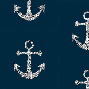 Anchors Aweigh in Silver Glitter on Navy