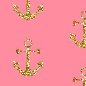 Anchors Aweigh, Gold Glitter on Pink
