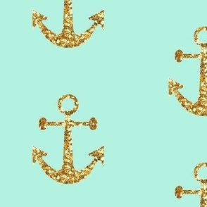 Anchors Aweigh In Gold Glitter And Mint Wallpaper