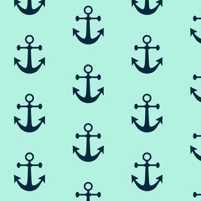 Anchors Aweigh in Nautical Navy and Mint