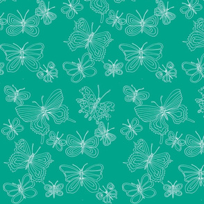 butterflies aqua white