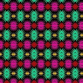Starburst Flowers Pink Aqua