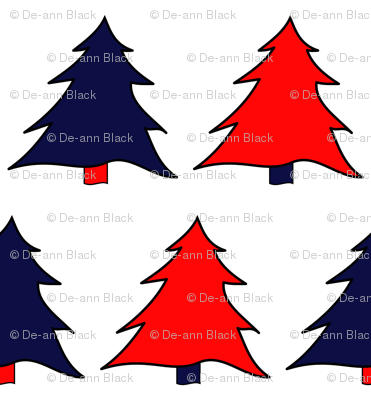 Navy & Red Christmas Trees