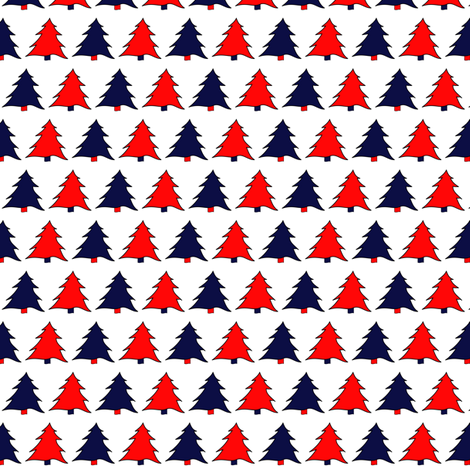 Navy & Red Christmas Trees fabric by de-ann_black on Spoonflower - custom fabric