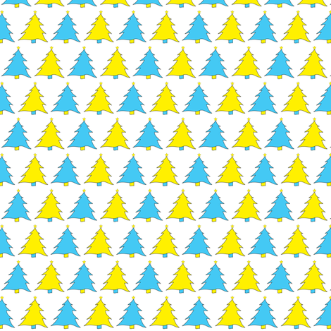 Turquoise & Yellow Christmas Trees fabric by de-ann_black on Spoonflower - custom fabric