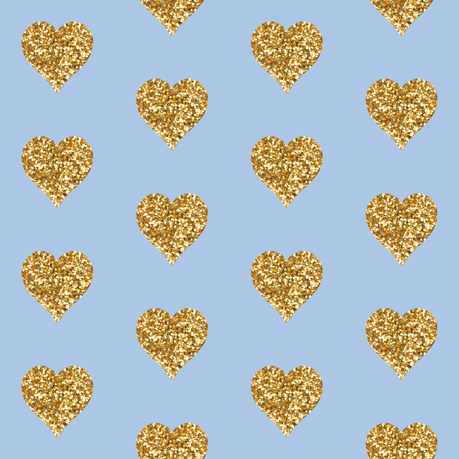 Gold Glitter Hearts On Blue Wallpaper Willowlanetextiles Spoonflower