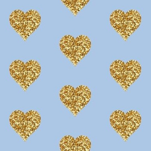 Gold Glitter Hearts on Blue