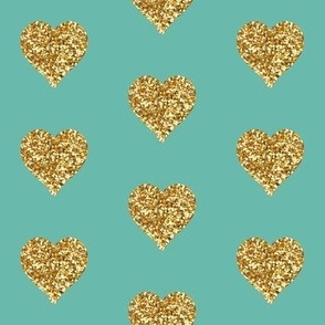 Gold Glitter Hearts on Teal