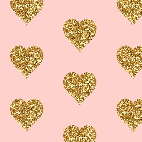 Gold glitter hearts on pink fabric willowlanetextiles for Baby pink glitter wallpaper