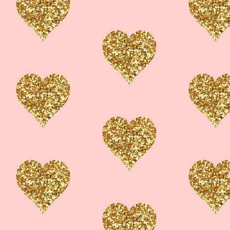 gold glitter hearts on pink fabric willowlanetextiles. Black Bedroom Furniture Sets. Home Design Ideas