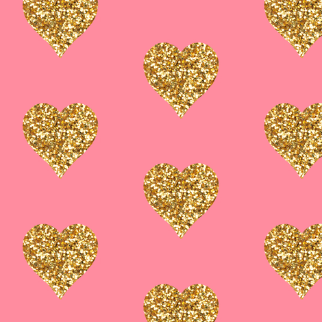 Gold Glitter Hearts on Pink fabric by willowlanetextiles on Spoonflower - custom fabric