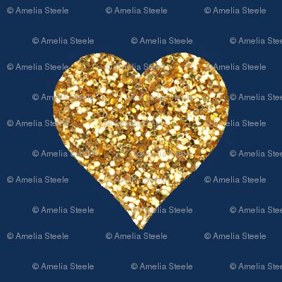 Gold Glitter Hearts on Navy