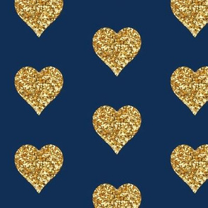 Gold Glitter Hearts on Navy