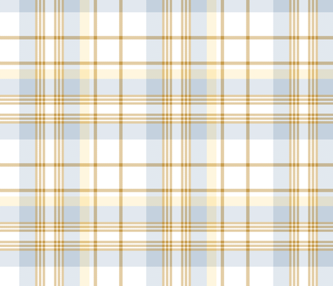 Donmaree Tartan ~  Versailles Fog, Trianon Cream, Gilt and White fabric by peacoquettedesigns on Spoonflower - custom fabric