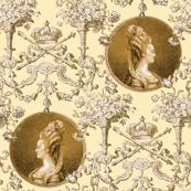 Marie Antoinette Medallion Swag ~ Gilt on Trianon Cream