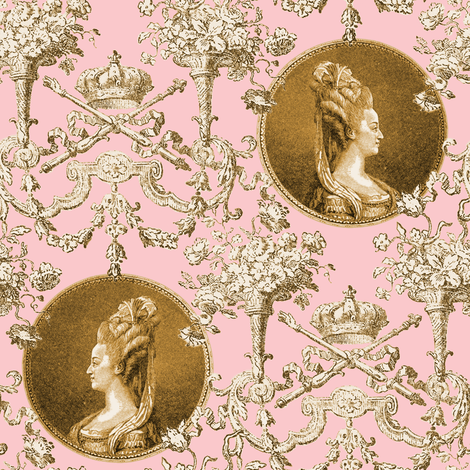 Marie Antoinette Medallion Swag ~ Gilt on Dauphine  fabric by peacoquettedesigns on Spoonflower - custom fabric