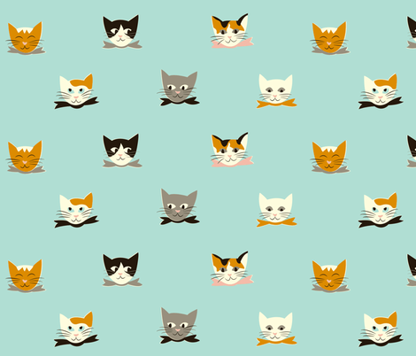 Vintage Kitties fabric by mintgreensewingmachine on Spoonflower - custom fabric