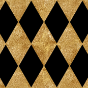 Harlequin Diamonds ~ Black and Antique Gold Mosaic