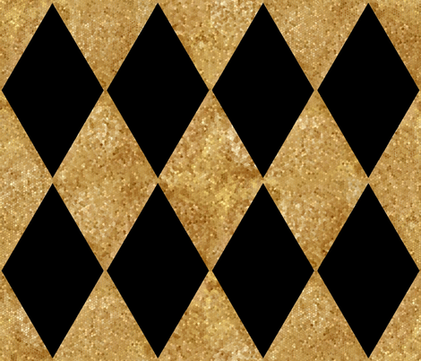 Harlequin Diamonds ~ Black and Antique Gold Mosaic   fabric by peacoquettedesigns on Spoonflower - custom fabric