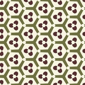 Hearts in Green Hexagons