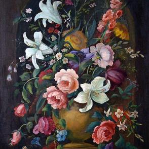 Black floral antique oil