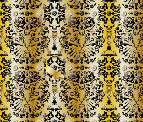 Bling Bling Cat Damask (Gold) fabric by vannina on Spoonflower - custom fabric