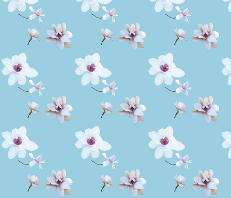 White Magnolias on Blue fabric by janinez on Spoonflower - custom fabric