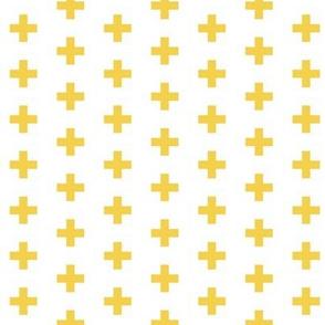 Small Mustard Crosses on White - Mustard Plus Sign - small version