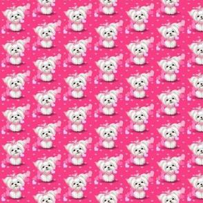 Maltese pink hearts smaller print