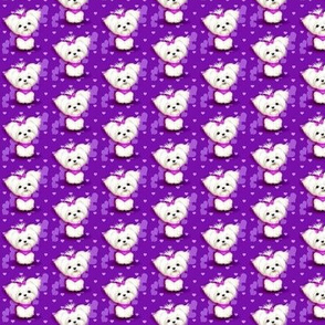 Maltese purple hearts smaller print
