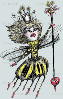 Queen Bee, small scale, blue gray
