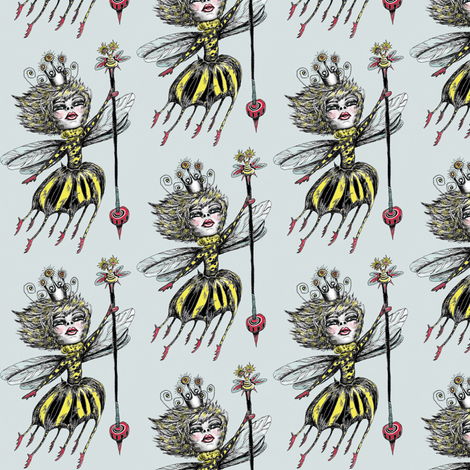 Queen Bee, small scale, blue gray fabric by amy_g on Spoonflower - custom fabric
