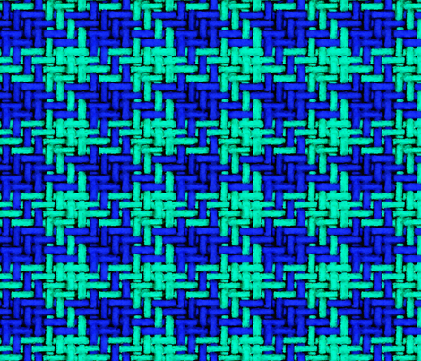 Watercolor woven houndstooth in blue and teal fabric by nlsd on Spoonflower - custom fabric