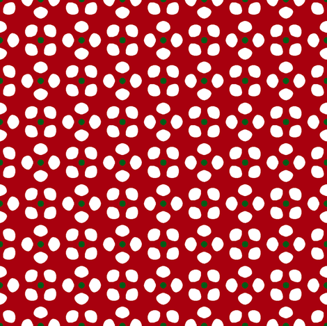 Randa 5   -White and Green on Bright Red fabric by fireflower on Spoonflower - custom fabric
