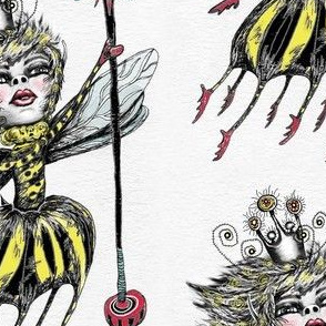 Queen Bee, large scale, white black yellow red