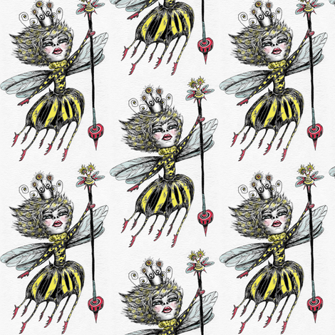 Queen Bee, small scale, paper background fabric by amy_g on Spoonflower - custom fabric