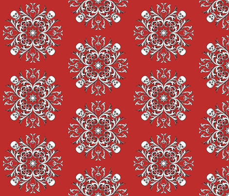 Skull_Motif_Aurora_Red fabric by kimberly_guccione on Spoonflower - custom fabric
