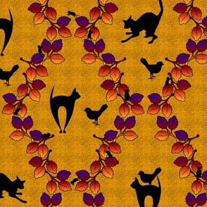 Cat Autumn Damask