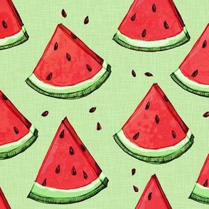 Watermelon on green (texture)