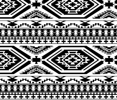 Aztec Geometric Pattern Black And White Perfect Repeats Fabric